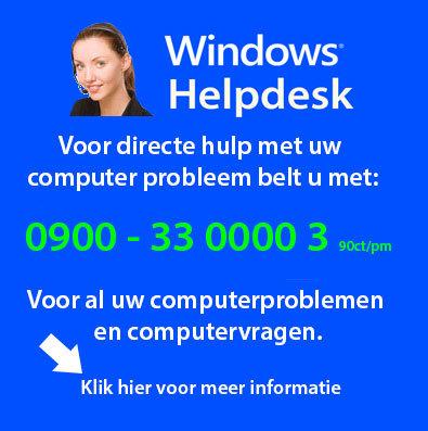 Voor Computerhulp op afstand belt u 0900 3300003